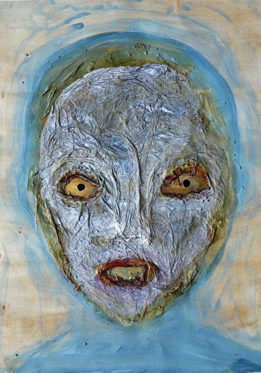 Exweltner, 2017, Acrylbinder, Pigmente, Schellack, Tusche u.a. auf Papier, 59 x 42 cm