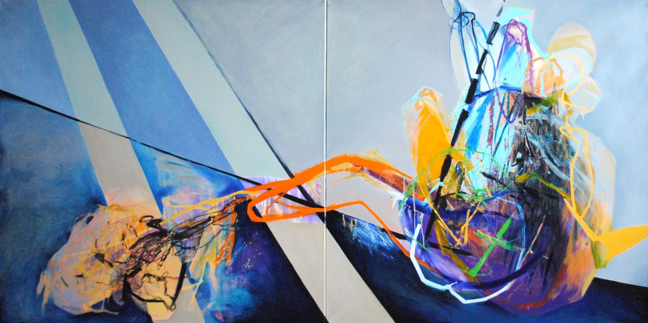 Meat&geometry #15, diptych, 150x300cm, acrylic&oil on canvas, 2015