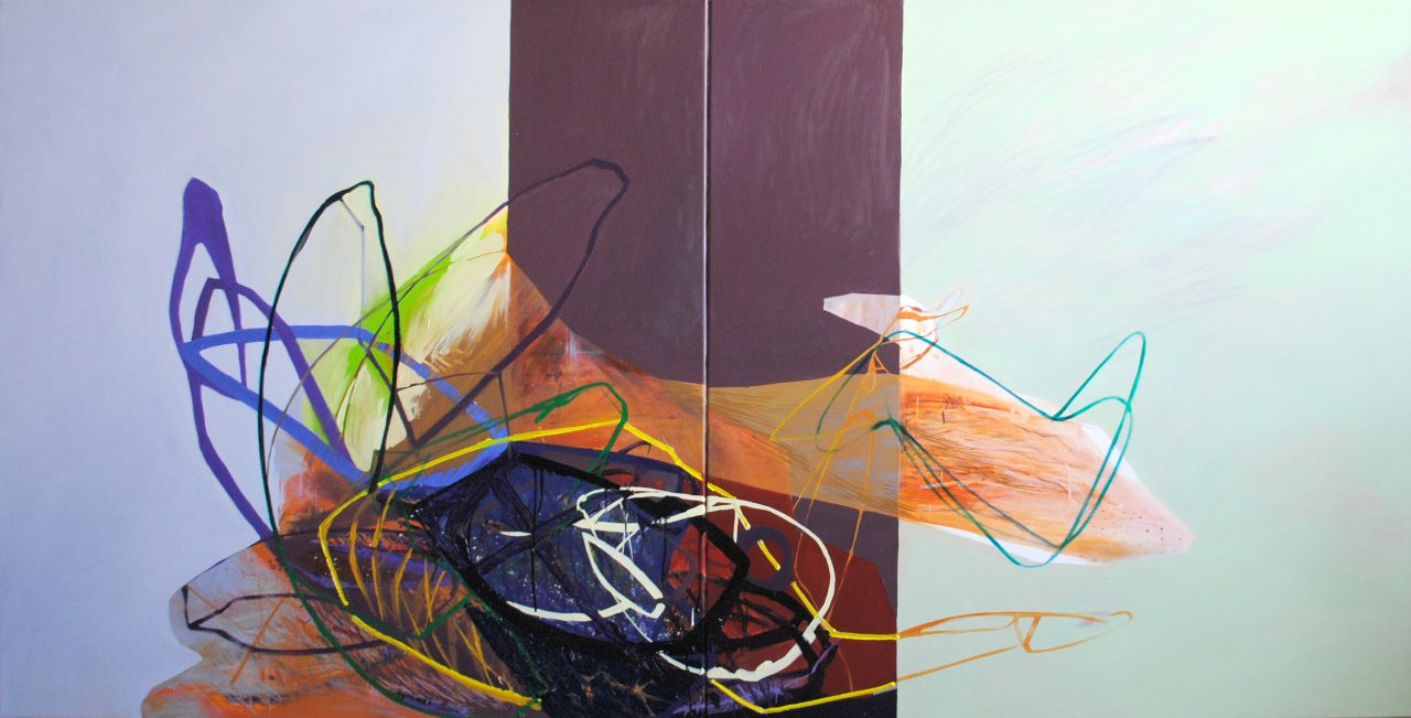 Meat&geometry #6, diptych, 130x260cm, acrylic&oil on canvas, 2014