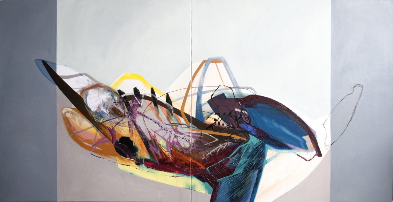 Meat&geometry #9, diptych, 130x260cm, acrylic&oil on canvas, 2014
