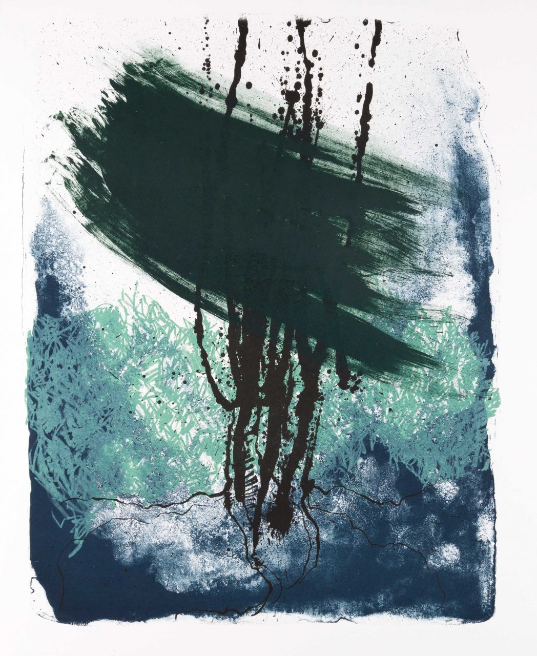 Wald X(F)-II, 2017, color lithograph, unique, 50x40 cm