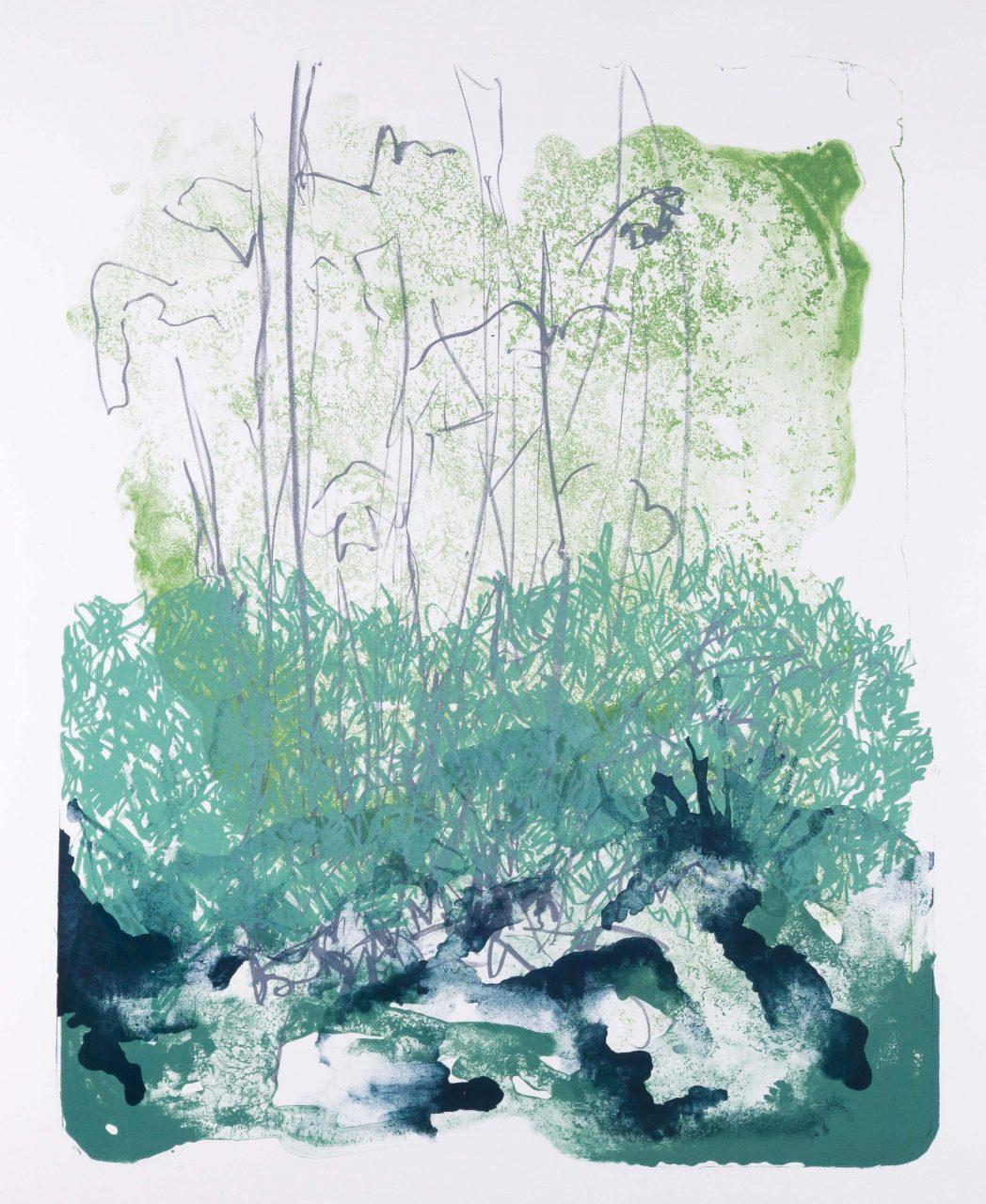 Wald X(F)-X, 2017, color lithograph, unique, 50x40 cm