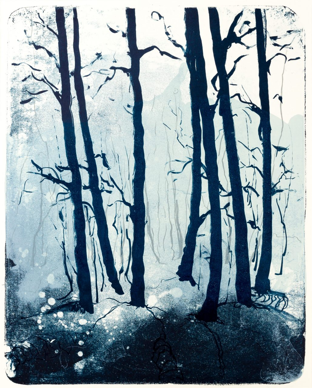 Wald X(N)-II, 2015, color lithograph, unique, 50x40 cm