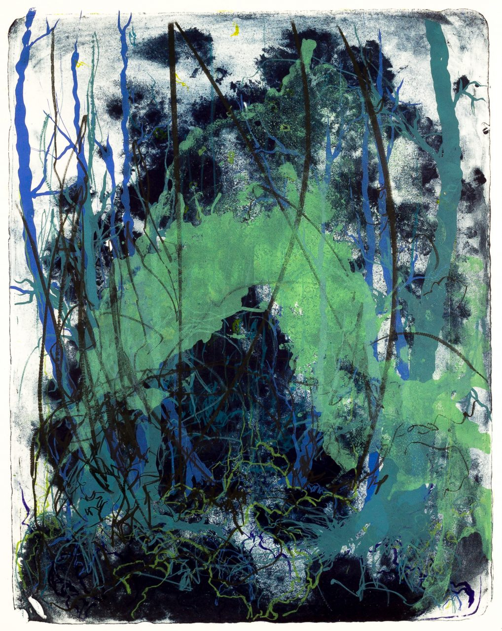 Wald X(N)-XXIV, 2016, color lithograph, unique, 50x40 cm