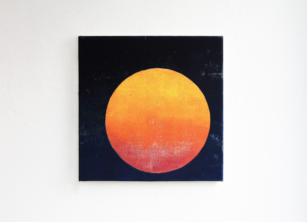 Sunset, 2017, 35 x 35 cm, hand printing on canvas
