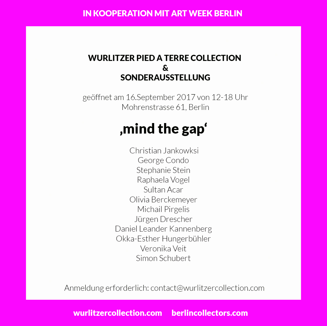 WURLITZER PIED A TERRE COLLECTION In cooperation with BERLIN ART WEEK | Open Saturday 16 September noon-6pm.