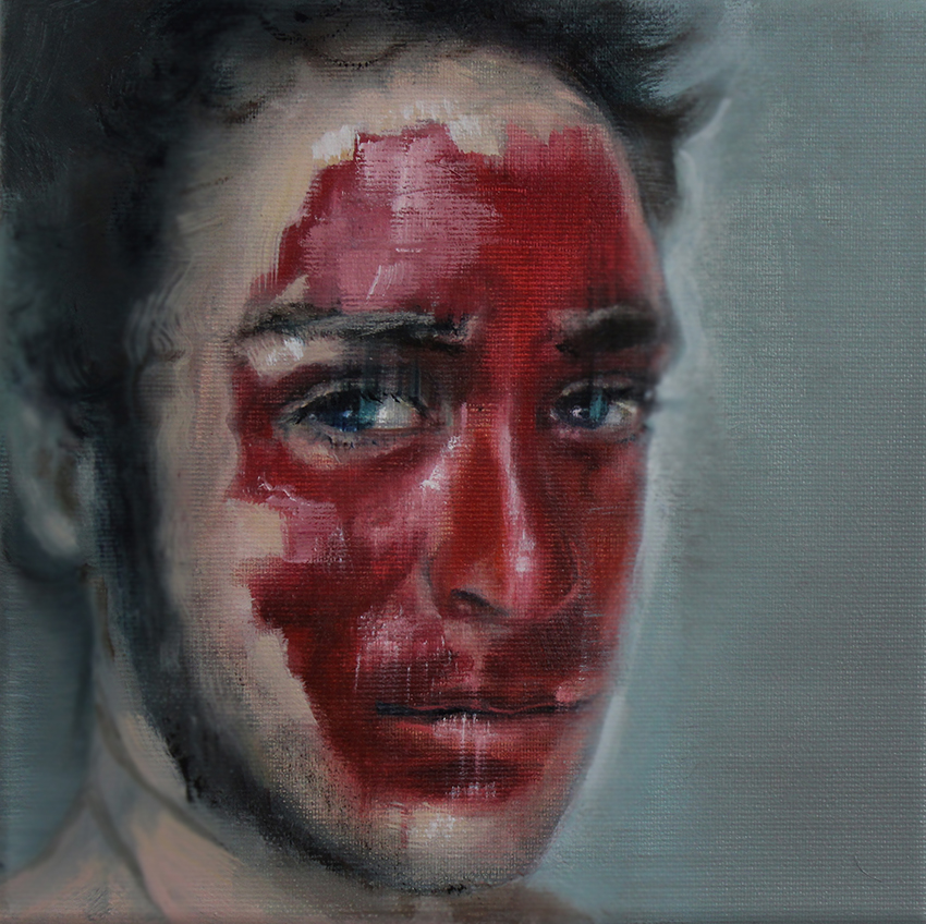 Kathrin Landa, red face, 20x20 cm, 2017, oil on linen