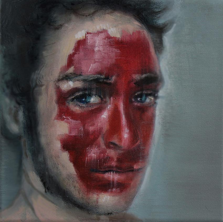 Kathrin Landa, red face, 20x20 cm, 2017, oil on linen