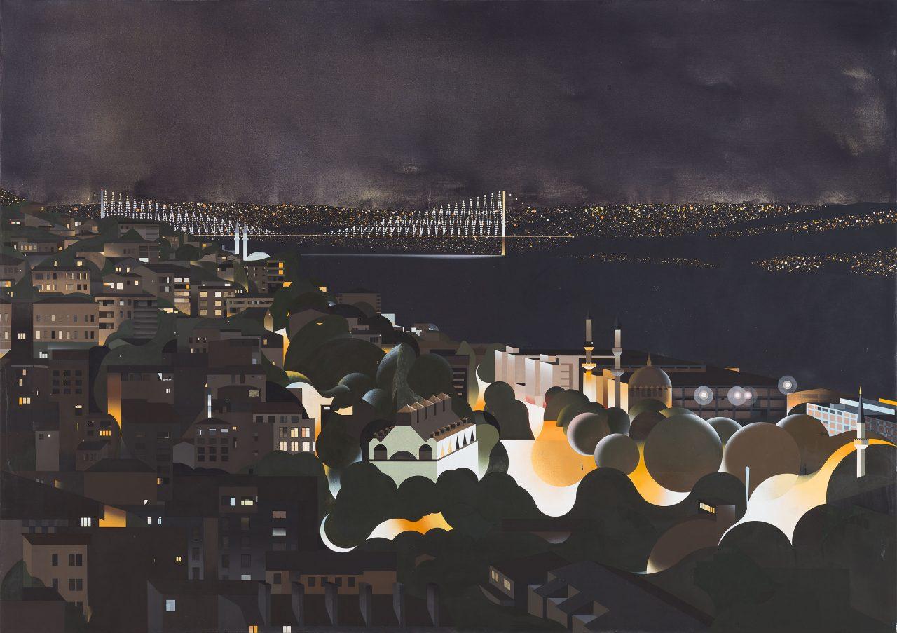 Am Bosporus (bei Nacht), Eitempera auf Leinwand, 170 x 240 cm, 2017