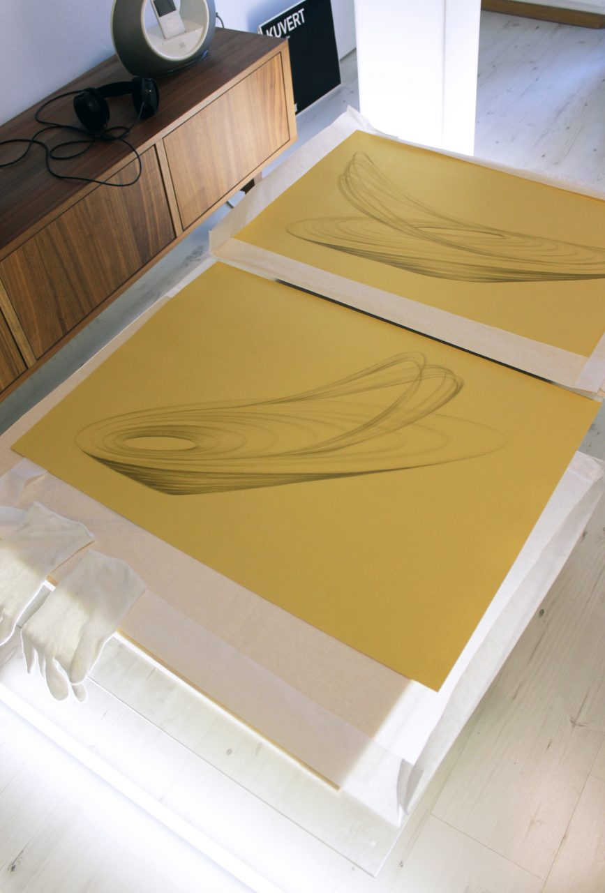 drawing-collage in a process of making, gold pancils on golden paper 230g, MOON Studio 1