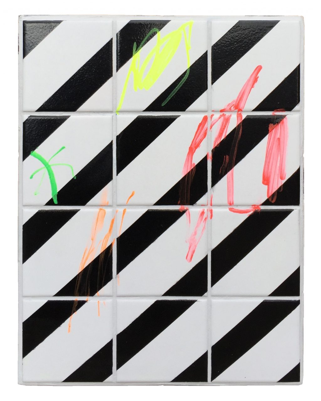 untitled, 40 x 30 x 3 cm, marker, gloss paint & tiles on wooden board, 2017