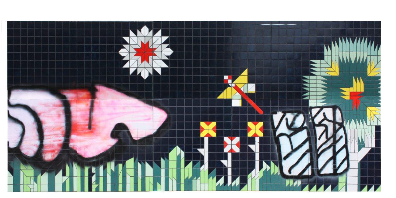 """Stern, Luchlandschaft, Wald, Baum und einsamer Falter"", 230 x 525 cm, gloss paint, spray paint & tiles on wooden board, 2017"