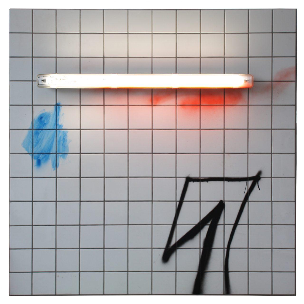 """Tunnel"",120 x 120 cm, spray paint, light strip, tiles on wooden board, 2016"