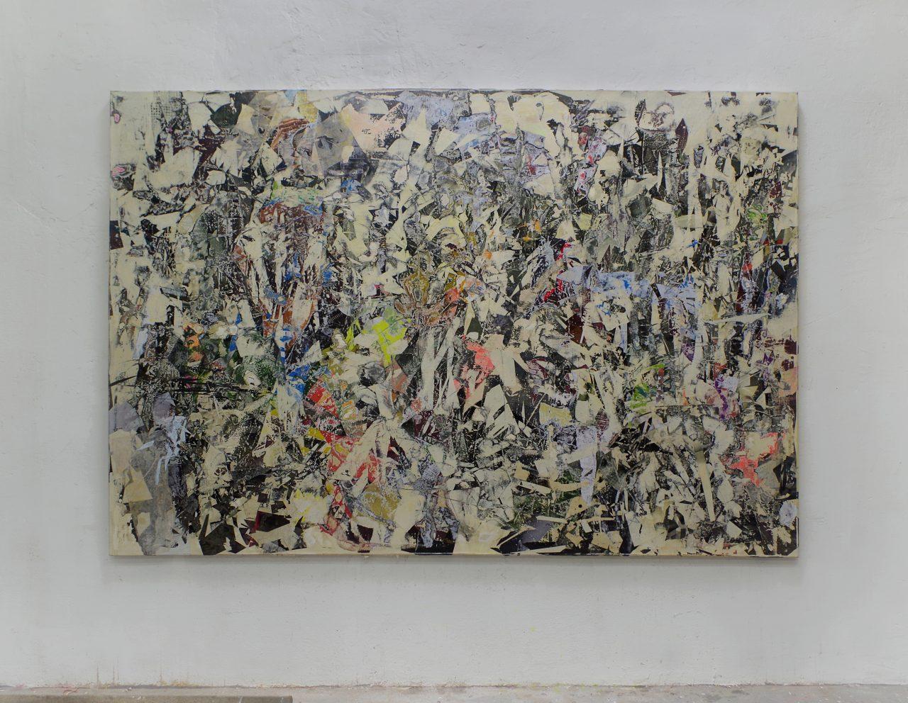 2017, Acryl, Spraypaint, Papier, Leinwand, Keilrahmen 190 x 280 cm