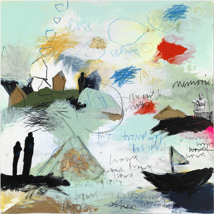 Strukturen erkennen, 2016, Farbzeichnung Acryl, Bleistift, Buntstift, Kohle, Pastell, Balsaholz, Blattgold, Papier, Pappe und Stoff auf Papier auf Alu-Dibond, 90 x 90 cm