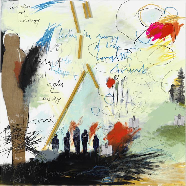 Feeling the energy of long forgotten friends, 2016, Farbzeichnung Acryl, Bleistift, Buntstift, Kohle, Pastell, Balsaholz, Papier und Pappe auf Papier auf Alu-Dibond, 90 x 90 cm