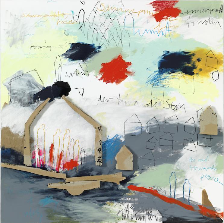 Schmerzpunkte finden, 2016, Farbzeichnung Acryl, Bleistift, Buntstift, Kohle, Pastell, Papier und Pappe auf Papier auf Alu-Dibond, 90 x 90 cm