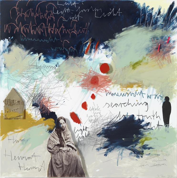 Innensicht wagen, 2016, Farbzeichnung Acryl, Bleistift, Buntstift, Kohle, Pastell, Papier und Pappe auf Papier auf Alu-Dibond, 90 x 90 cm
