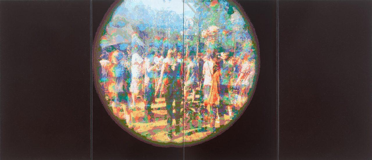 """Römer + Römer """"Spotlight"""", 2017, Öl auf Leinwand, 95 x 220 cm (4 parts)"""