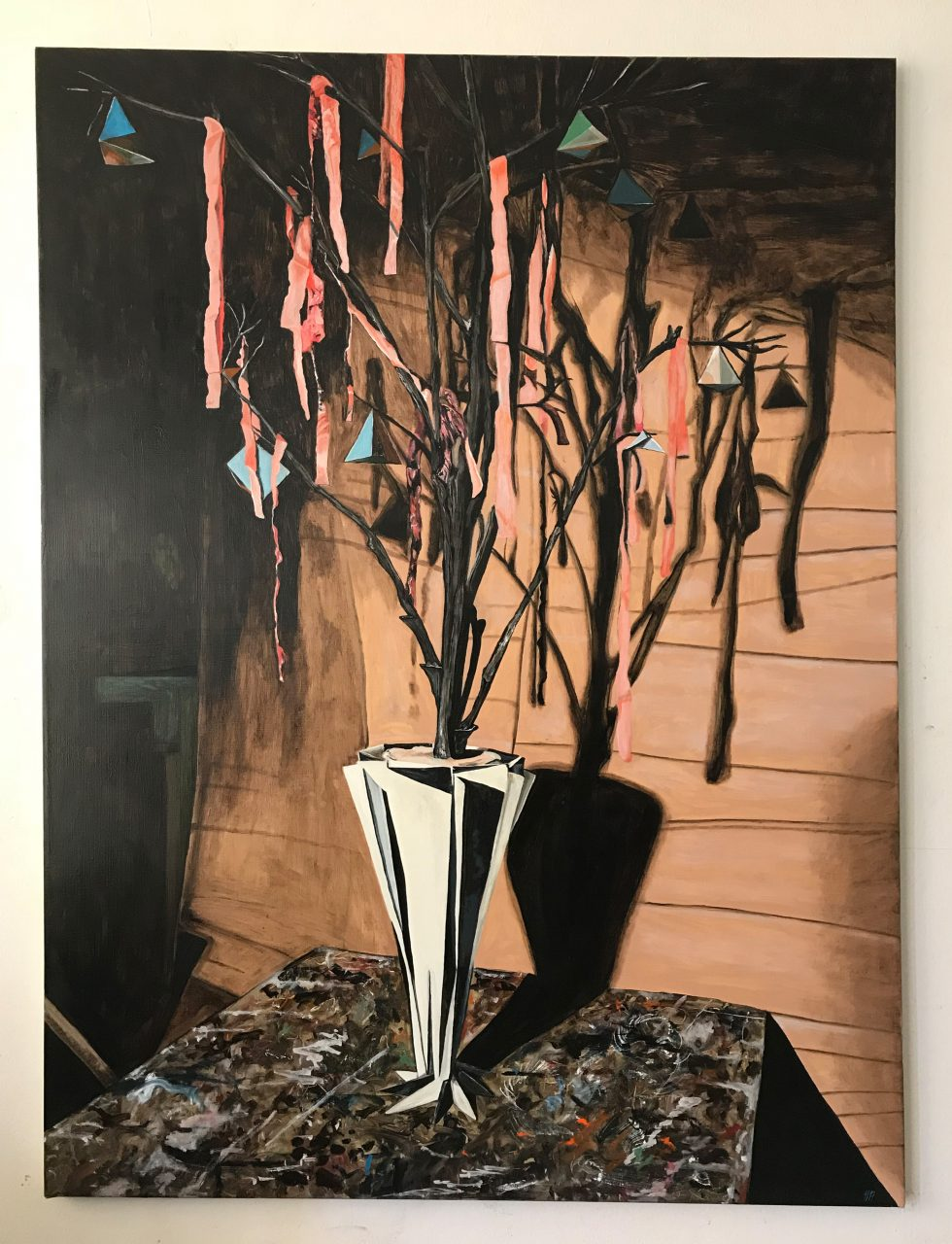 In the chamber, oil on nettle, 105 x 140cm, 2017