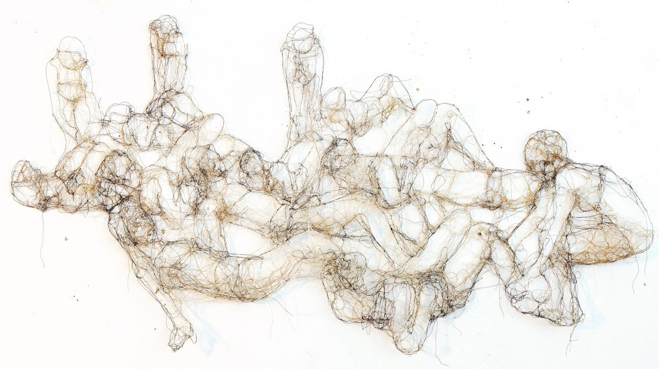 nude women, threads, 80cm x 45cm x 1,5cm
