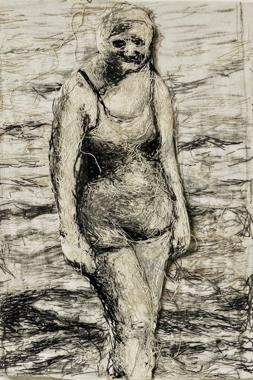 woman, threads/cloth, 28cm x 21 cm x 3cm
