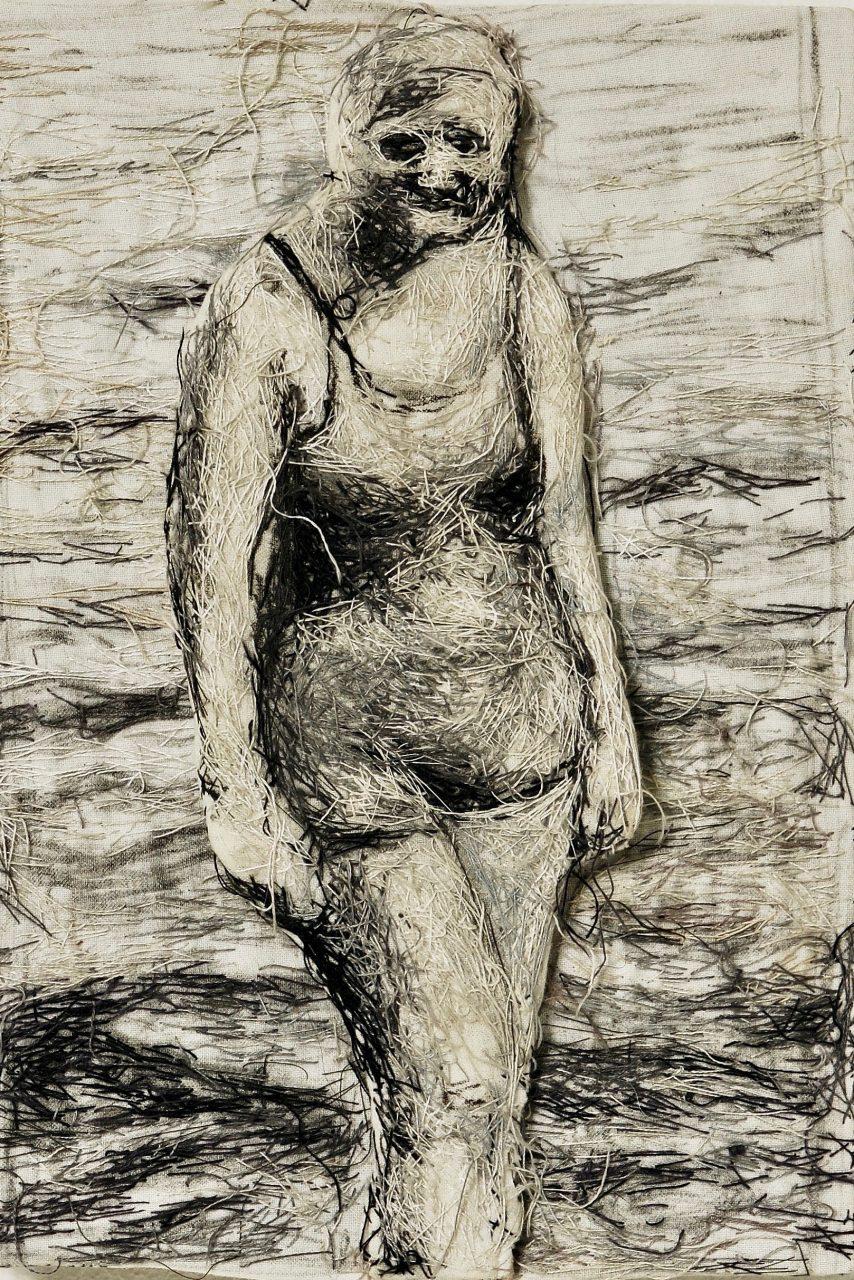 woman, threads/cloth, 28cm x 21 cm x 3cm