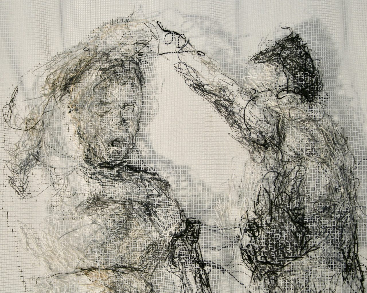 two women, threads/curtain, 60cm x 55cm