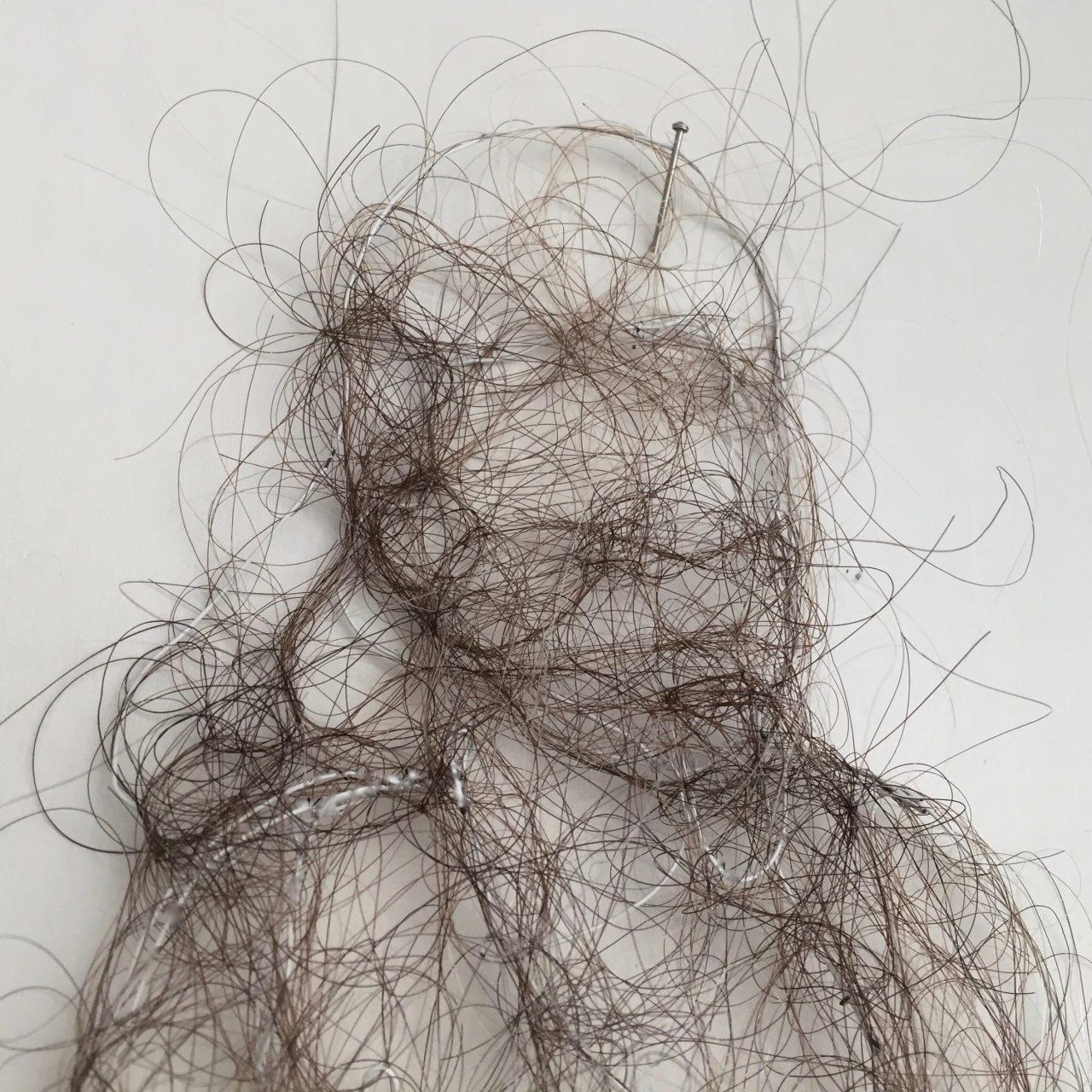 portrait, hair, 11cm x 13cm x 2cm