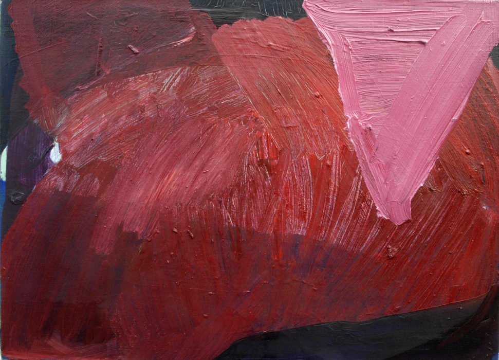 triangolo rosa, 2014, oil on paper and linen, 40 x 55 cm