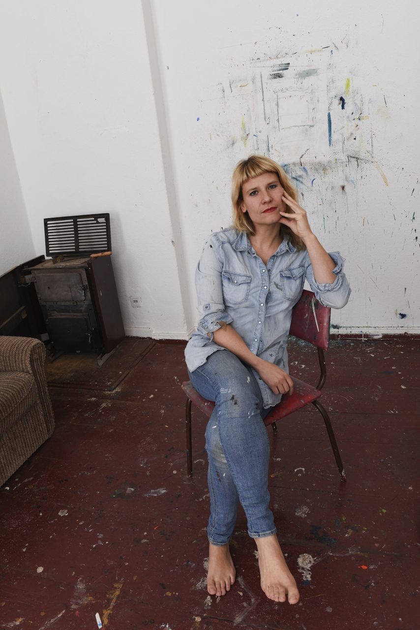 Kathrin Landa in her studio, Berlin Kreuzberg, 2018, photo by Johanna Jaeger