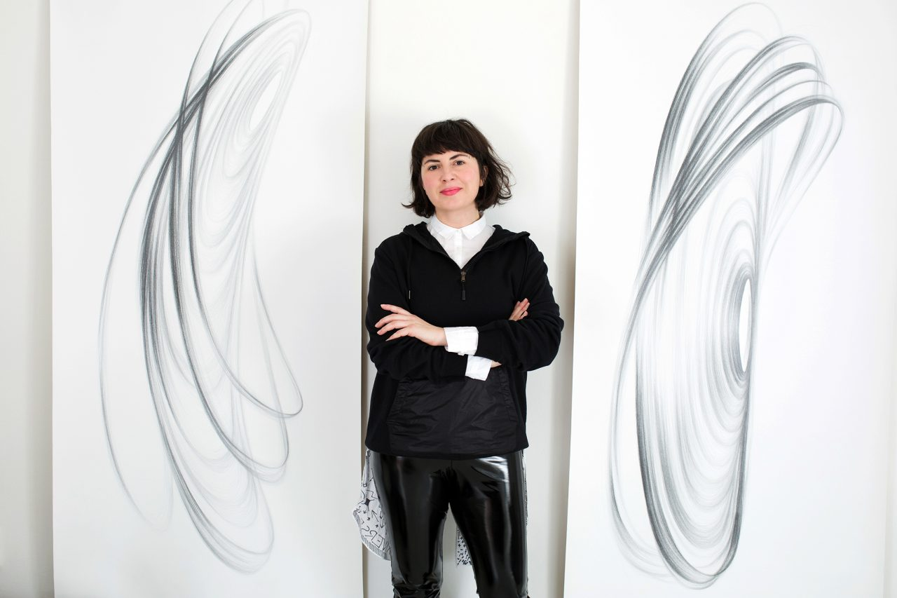 Artist MOON in her Studio 1; META-SIGNAL SONAR SYSTEM (MSSS) project, analogue drawings, graphite pencils on canvas, 200 x90 cm each, 2017, Photography: Damir Žižić