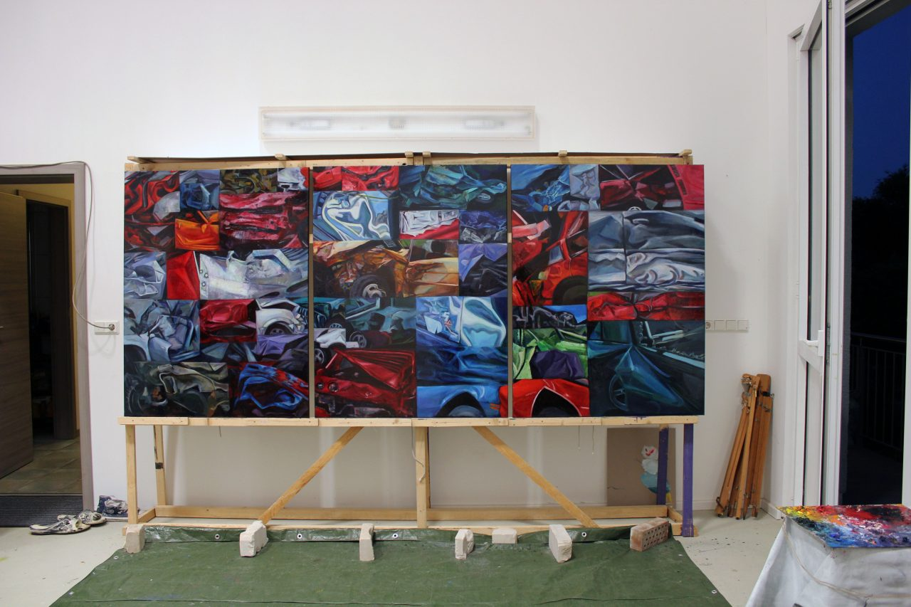 Fast and Furious 1, 2015, oil on canvas, 130/300 cm