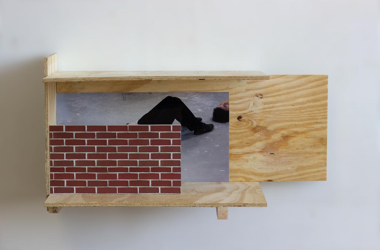 Balcony 2018 - 34.5 x 65.5 x 29.5cm, triplex, photograph, brick paper