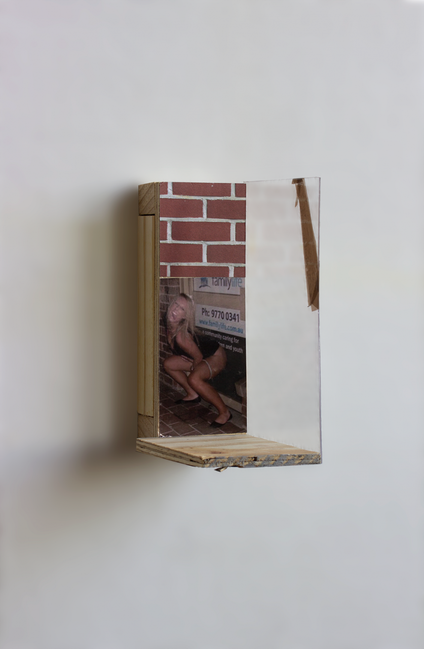 Reflection 2018 - 19 x 12.5 x 8cm, photograph, triplex, brick paper, plexiglas, wood