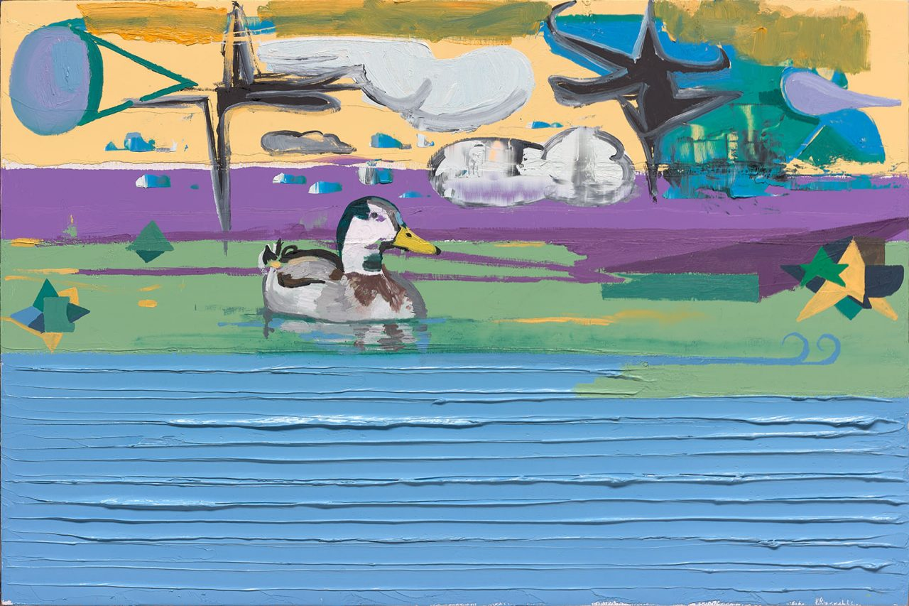 Duck into a pond, 2017. Oil on wood, 40x60cm