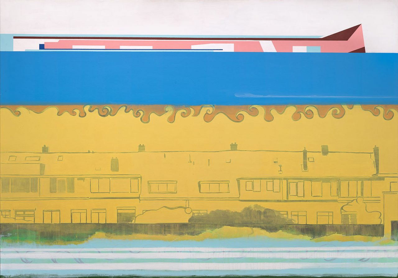 Terraced houses behind the schoolyard, 2017. Acrylic on canvas, 140x195cm.