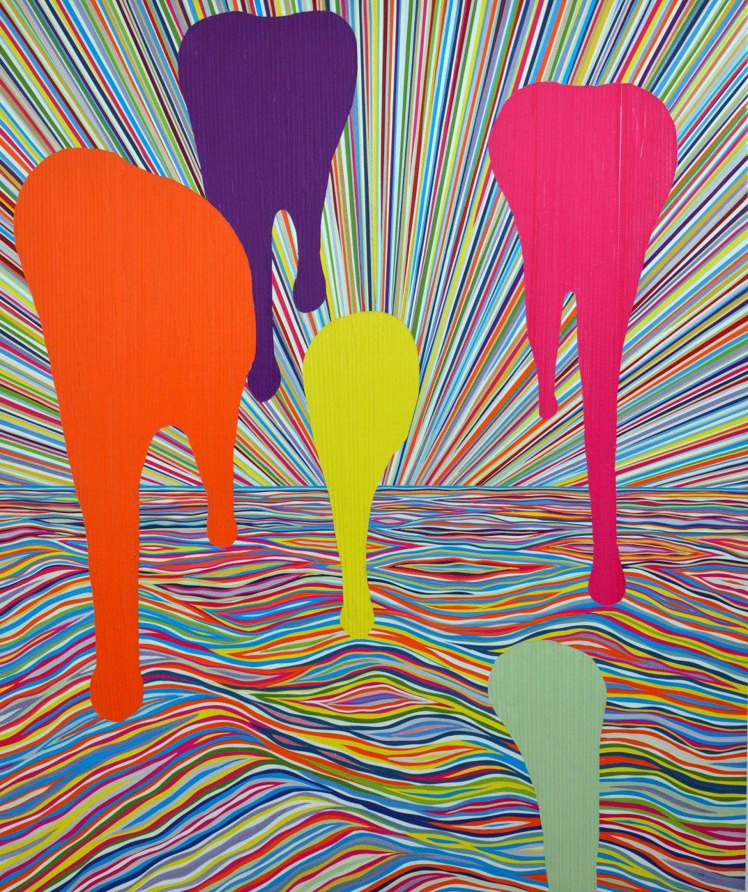Artist Attacks Picture, 121 x 101 cm, 2016