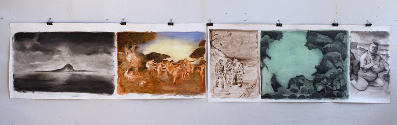 The Tempest (part 1) 2018 - 70 x 355cm, acrylic on canvas, clips