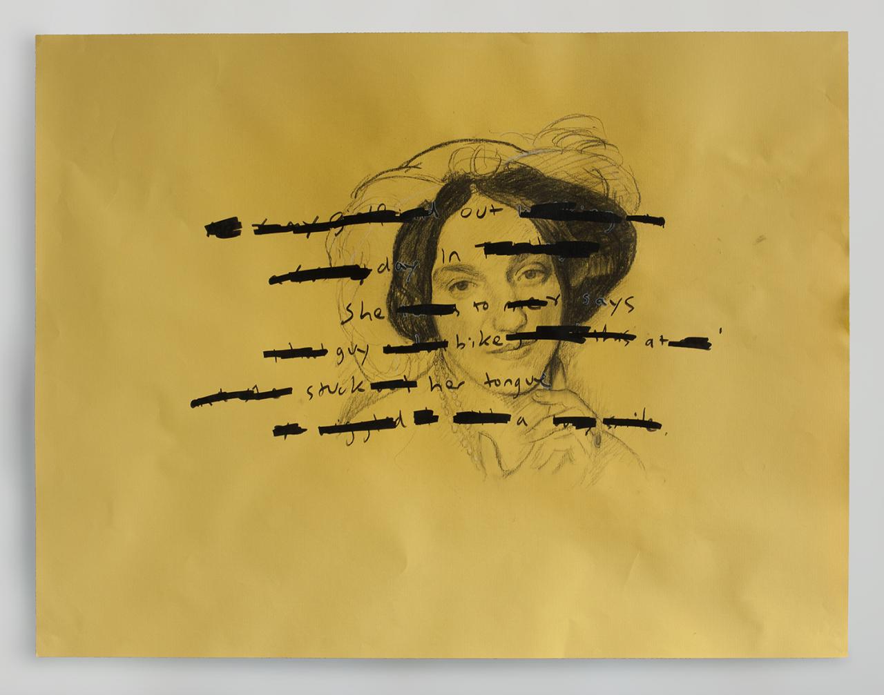 Tongue 2018 - 50 x 65cm, charcoal, pen on Ingres paper