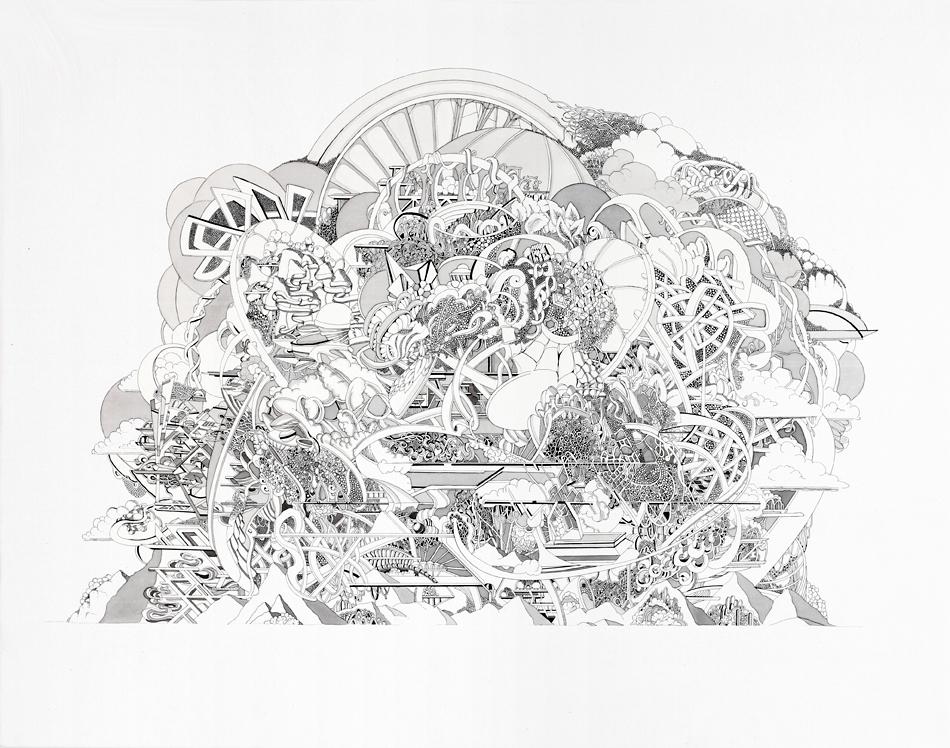 Thonis, 2017, Tusche auf Leinwand, 50 x 63 cm, Foto: Eric Tschernow
