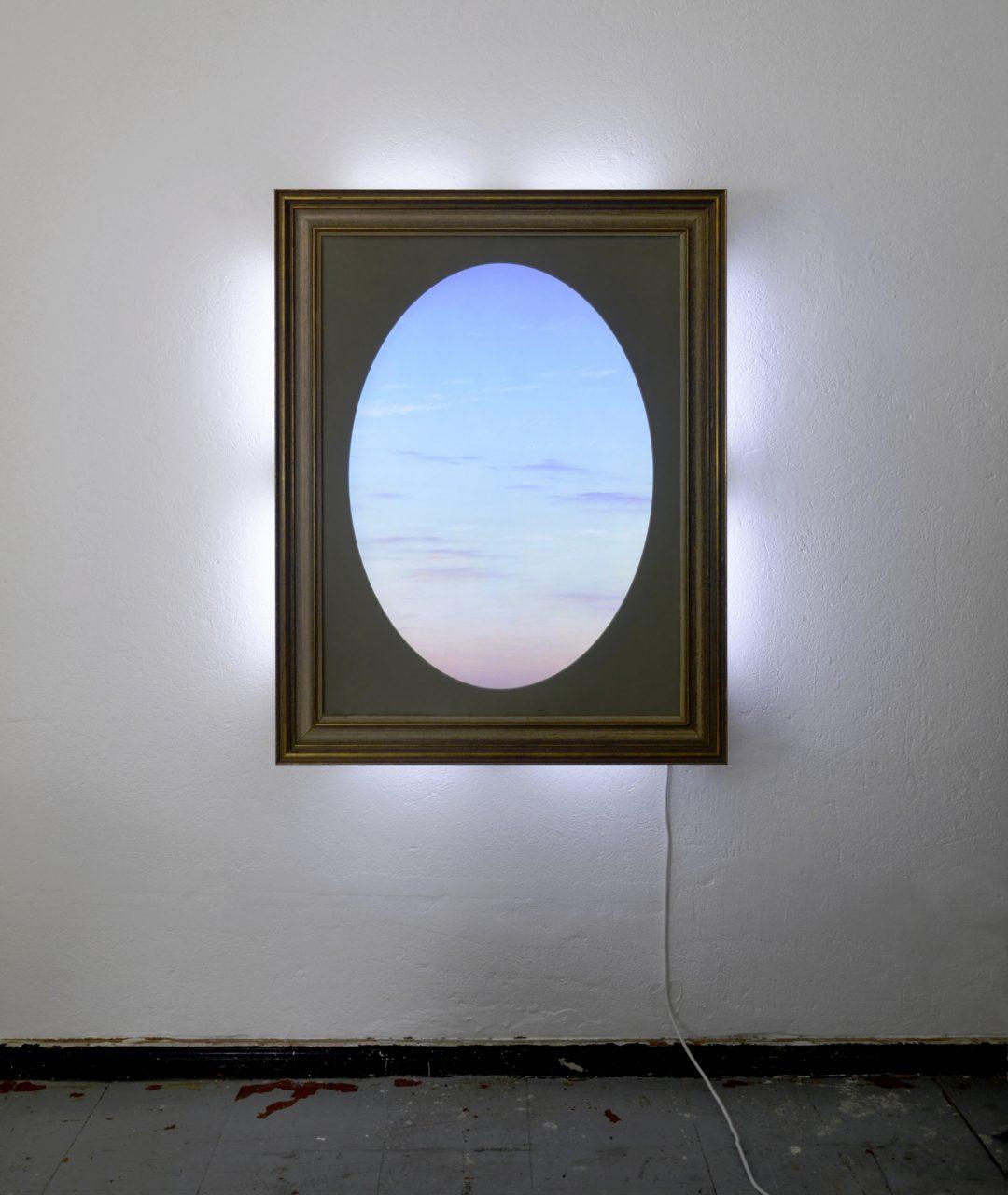 """Bessere Zeiten dämmern"" – ""Better times loom"", 2016, printed foil, glass, cardboard, frame, LEDs, plywood, fly net 92 x 72 x 16 cm"