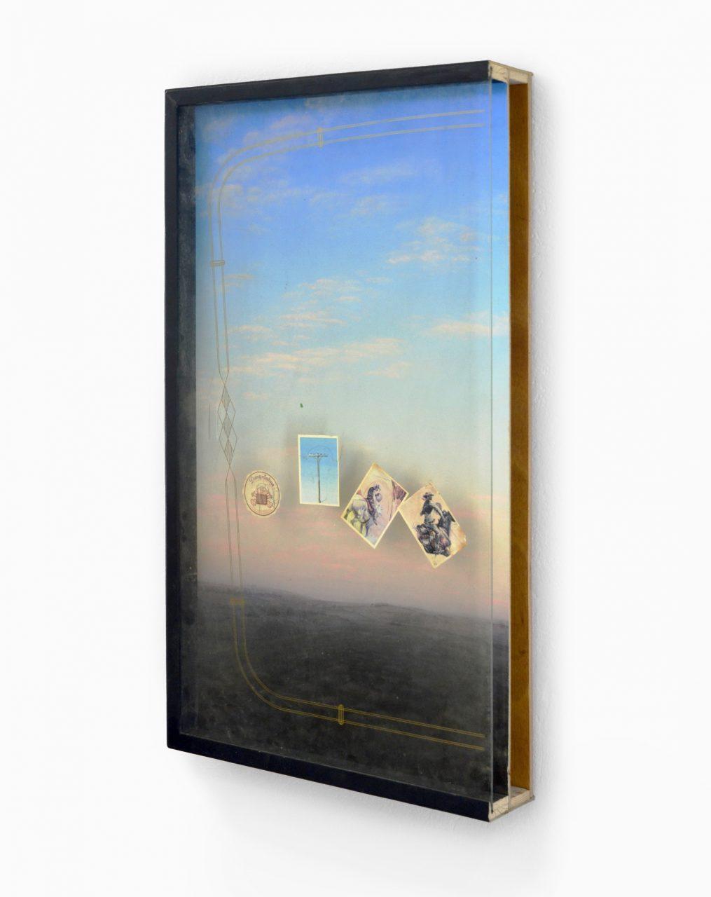 """""""Dany Sahne"""", 2017, acrylic, hardboard, wood, glass, stickers, 76 x 42 x 9 cm"""