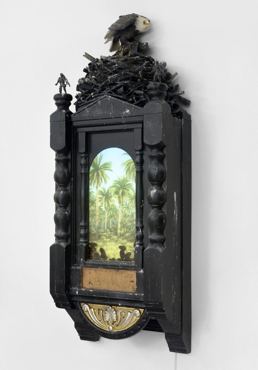 """""""DU-Munition (Genesis 3, 1991 - 2003)"""", 2016, wood, glass, verre églosmisé printing, plastic, metal, acrylic, LEDs, dates, food moths, 151 x 57 x 29 cm"""