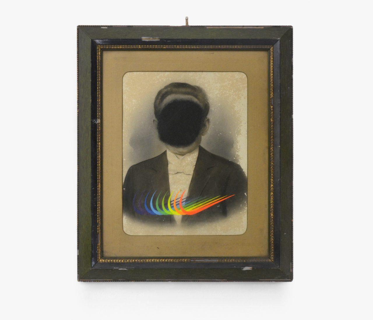 """Weitsicht""– ""Foresight"", 2017, fluorescent paint, acrylic, photography, cardboard, glass, frame, 65 x 55 cm"