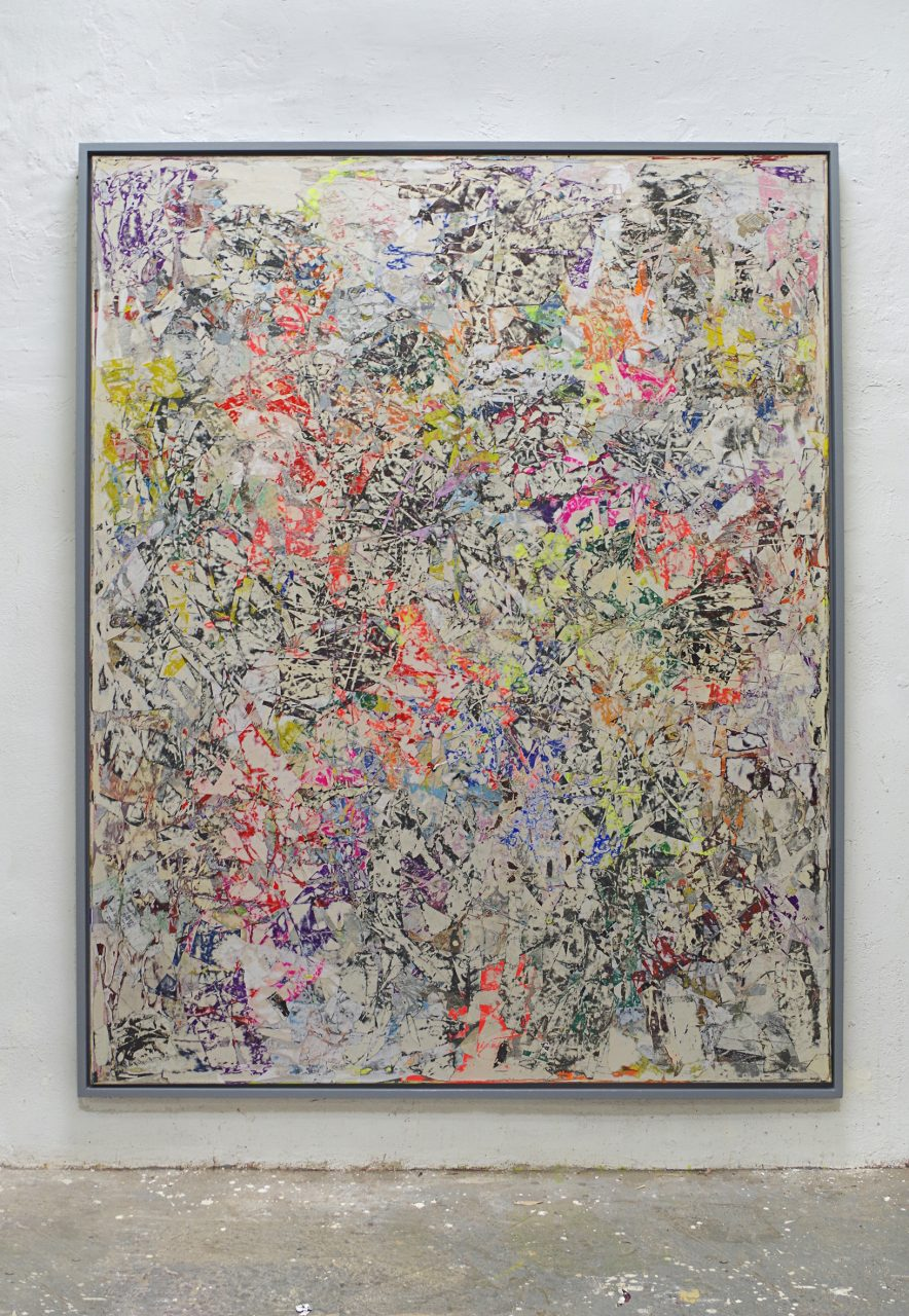 2018, Acryl, Spraypaint, Papier, Leinwand, Keilrahmen 230 x180cm