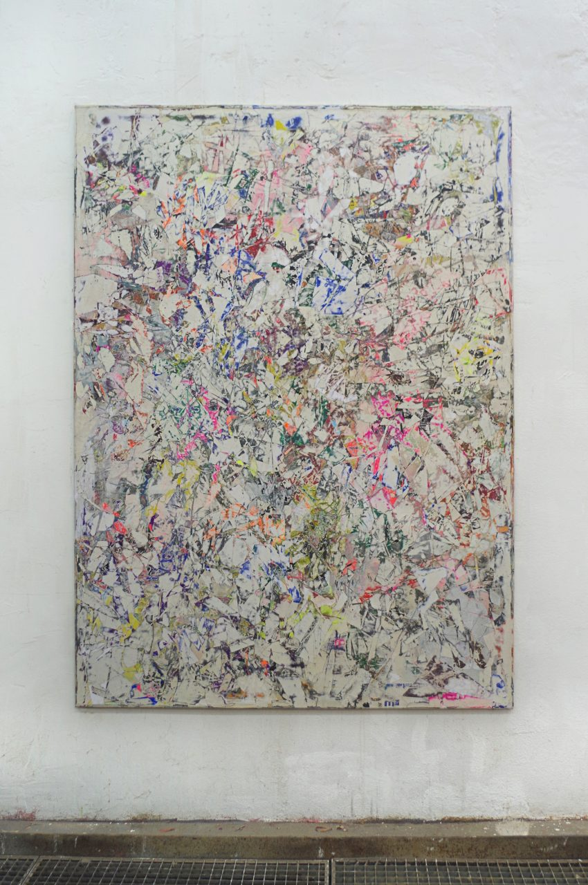 2018, Acryl, Spraypaint, Papier, Leinwand, Keilrahmen 205 x 150 cm