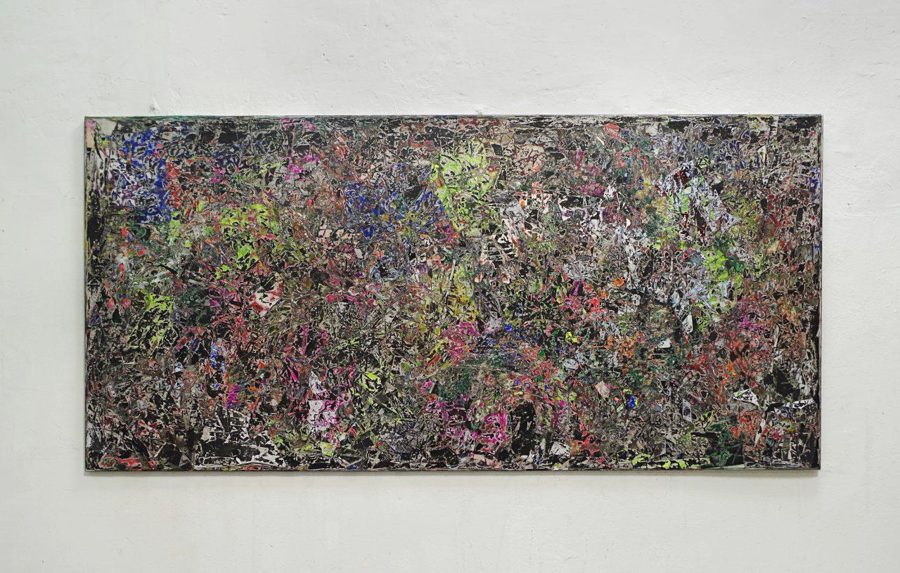 2018, Acryl, Spraypaint, Papier, Leinwand, Keilrahmen 140 x 290 cm