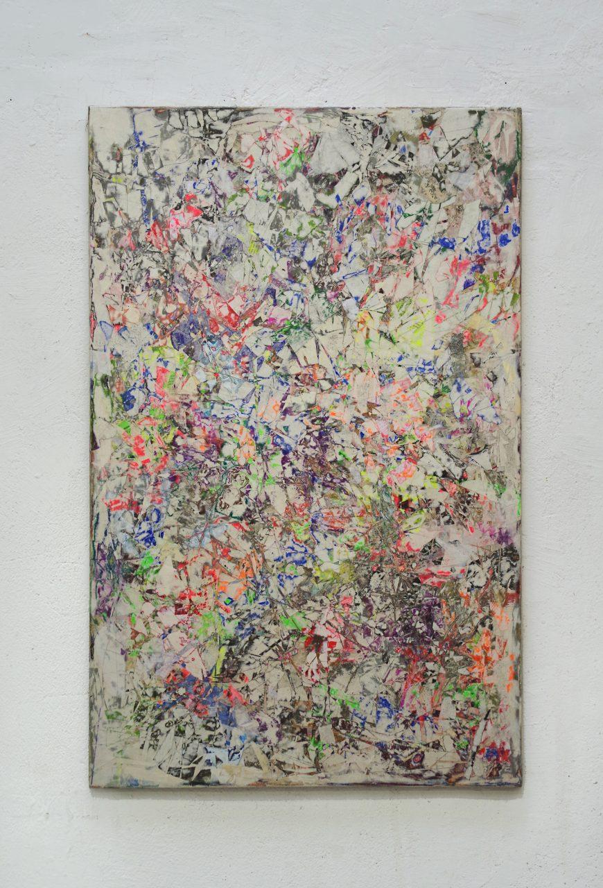 2018, Acryl, Spraypaint, Papier, Leinwand, Keilrahmen 110 x 70 cm