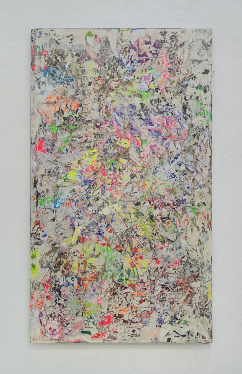 2018, Acryl, Spraypaint, Papier, Holz, Keilrahmen 123 x 72 cm